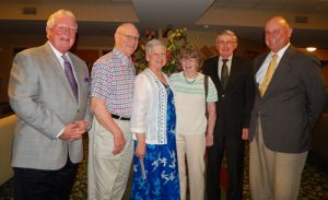 From left to right - Curt Walizer, Cornwall Manor Board of Trustees Chairperson; Fredrick and Judith Borger; Sandra and Robert Johnson and Steve Hassinger, Cornwall Manor President.