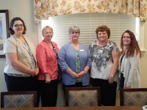 Instructors from the Lebanon County Career and Technology Center visited Cornwall Manor to tour the Health Center in preparation for the Practical Nursing Program clinical. From left to right are: Lisa Hostetter, BSN, RN-BC, LCCTC Clinical Manager/Instructor; Stacey Ferguson, BSN, RN, LCCTC Clinical Instructor; Kelly Gerhards, BSN, RN, WCC, LCCTC Instructor; Sandi Hinkle, RN, Cornwall Manor Director of Nursing and Jenny Neidigh, MSN, RN, LCCTC Director of Practical Nursing Program.