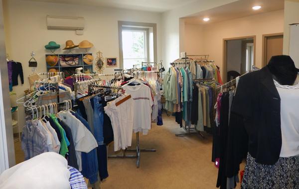 Racks of clothing inside of Treasure Trove Thrift Shoppe at Cornwall Manor Retirement Community
