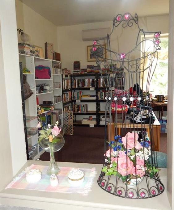 Shelves of books inside of the Treasure Trove Thrift Shoppe