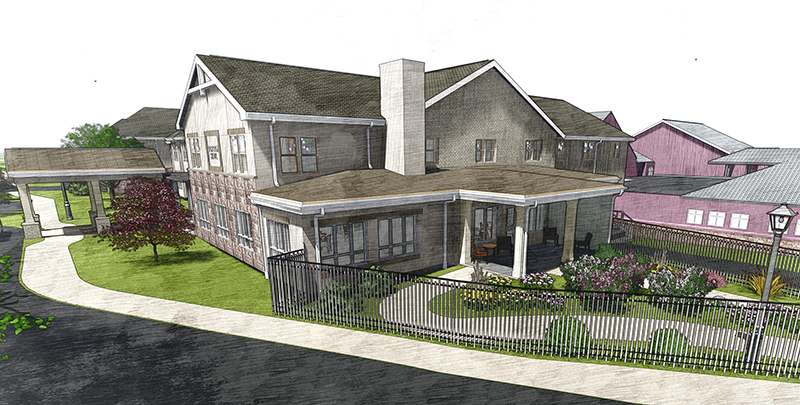 A sketch drawing of Corson Hall Personal Care from the outside with a black fence, winding sidewalks, and shrubbery